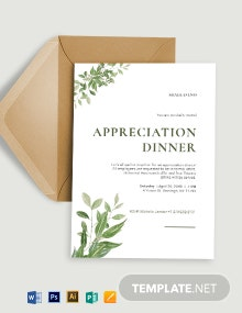 Simple Appreciation Dinner Invitation Template