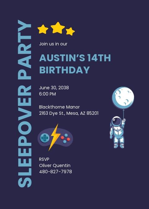 Sleepover Birthday Invitation Template
