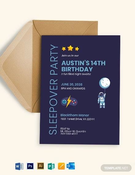 Sleepover Birthday Invitation Template