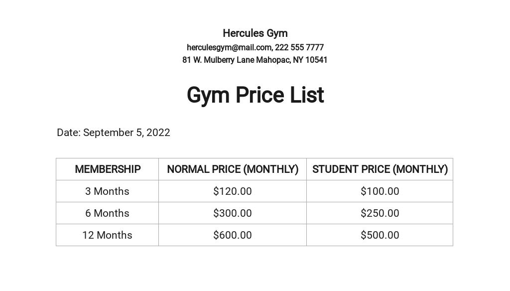 Gym Price List Template