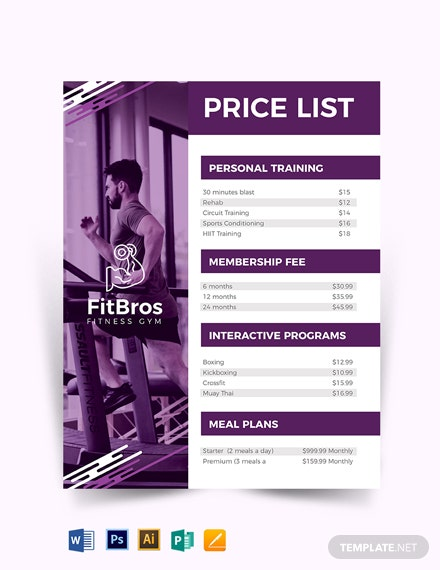 gym price list template  download 0  price list in adobe