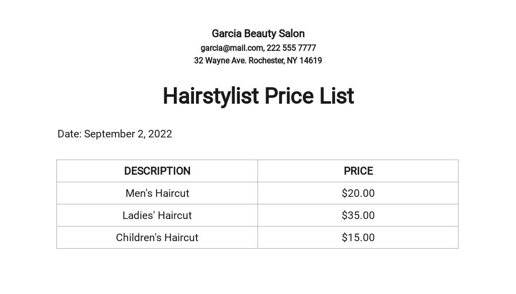 Hairstylist Price List Template