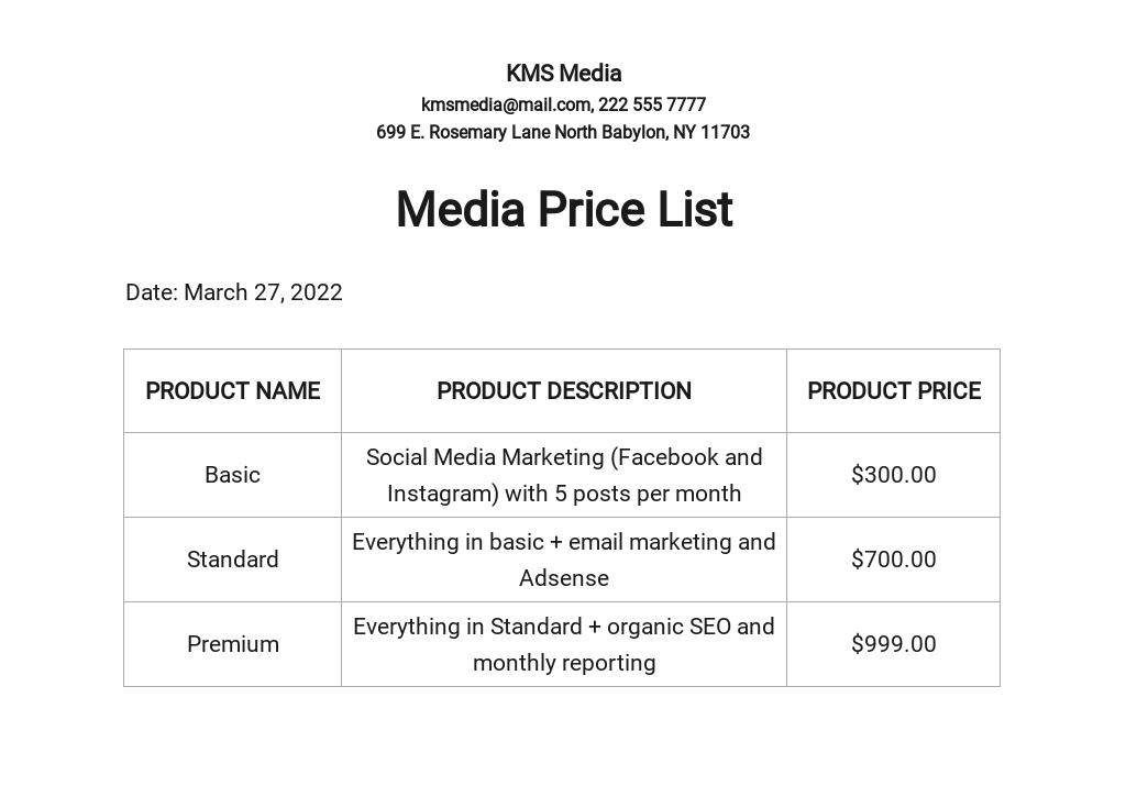 Media Price List Template