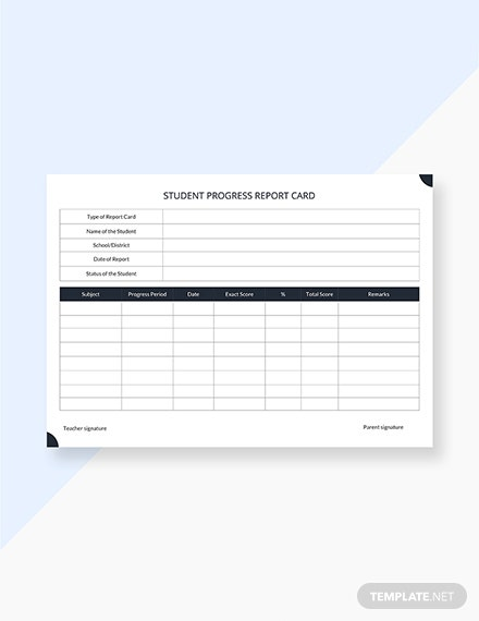Free Student Progress Report Card Template