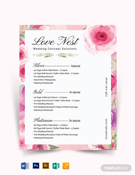 Photography Wedding Packages Price List Template