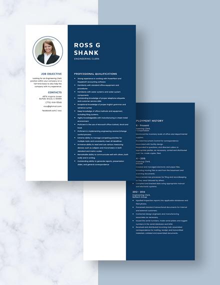 Engineering Clerk Resume Download