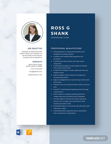 Engineering Clerk Resume Template