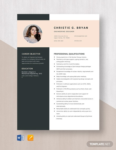 Engineering Designer Resume Template