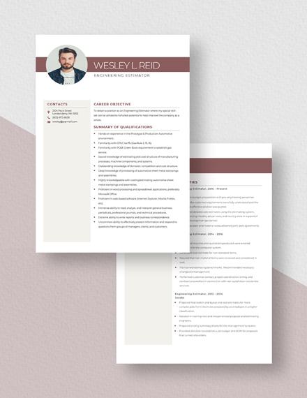 Engineering Estimator Resume Download