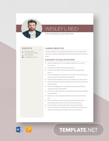 Engineering Estimator Resume Template