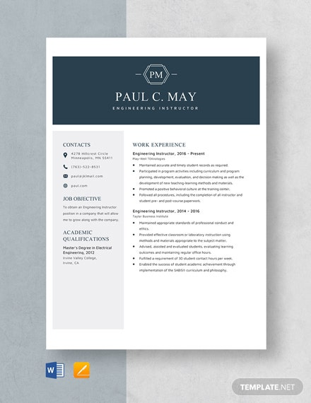 Engineering Instructor Resume