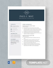 Engineering Instructor Resume Template