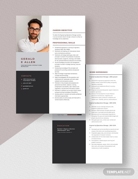 Engineering Operations Manager Resume Template Download