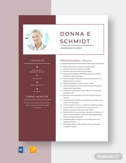 Engineering Planner Resume Template