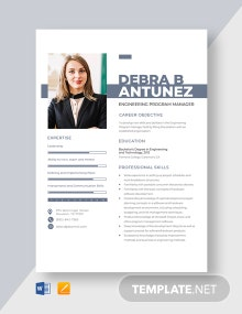 Engineering Program Manager Resume Template