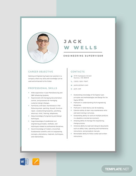 Engineering Supervisor Resume Template