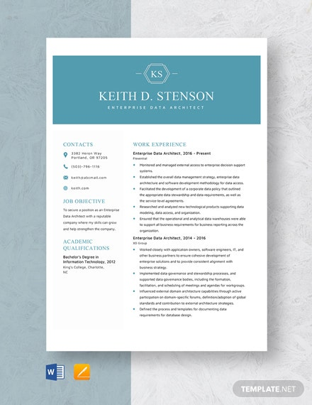 Enterprise Data Architect Resume Template