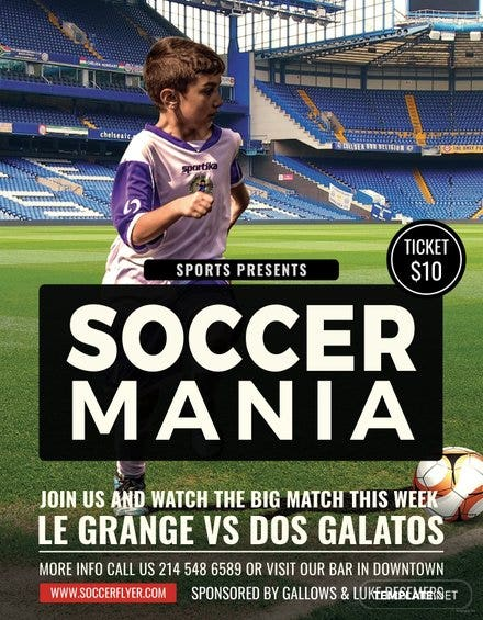 soccer mania sports flyer template free templates