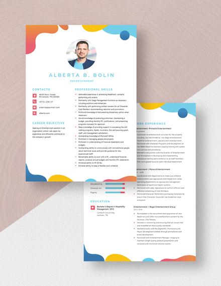 Entertainment Resume Download