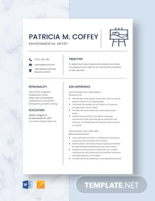Environmental Artist Resume Template