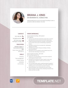 Environmental Consulting Resume Template