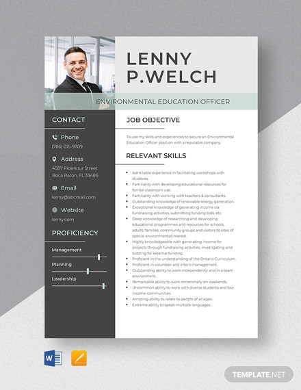 Environmental Education Officer Resume Template