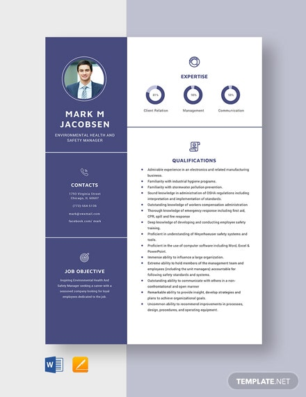 Environmental Health And Safety Manager Resume Template