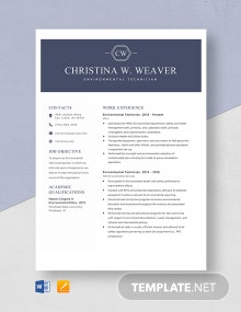 Environmental Technician Resume Template