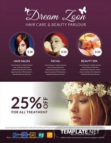 Free Hair Salon and Beauty Care Flyer Template