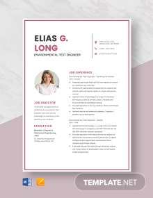 Environmental Test Engineer Resume Template