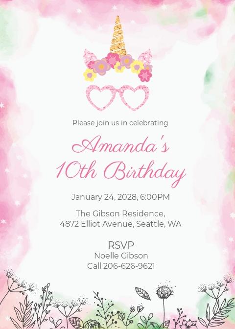Girl Birthday Party Invitation Template