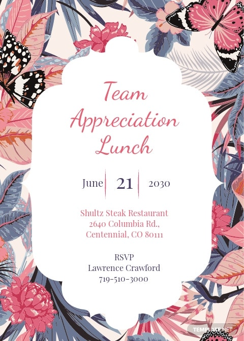 Team Appreciation Lunch Invitation Template