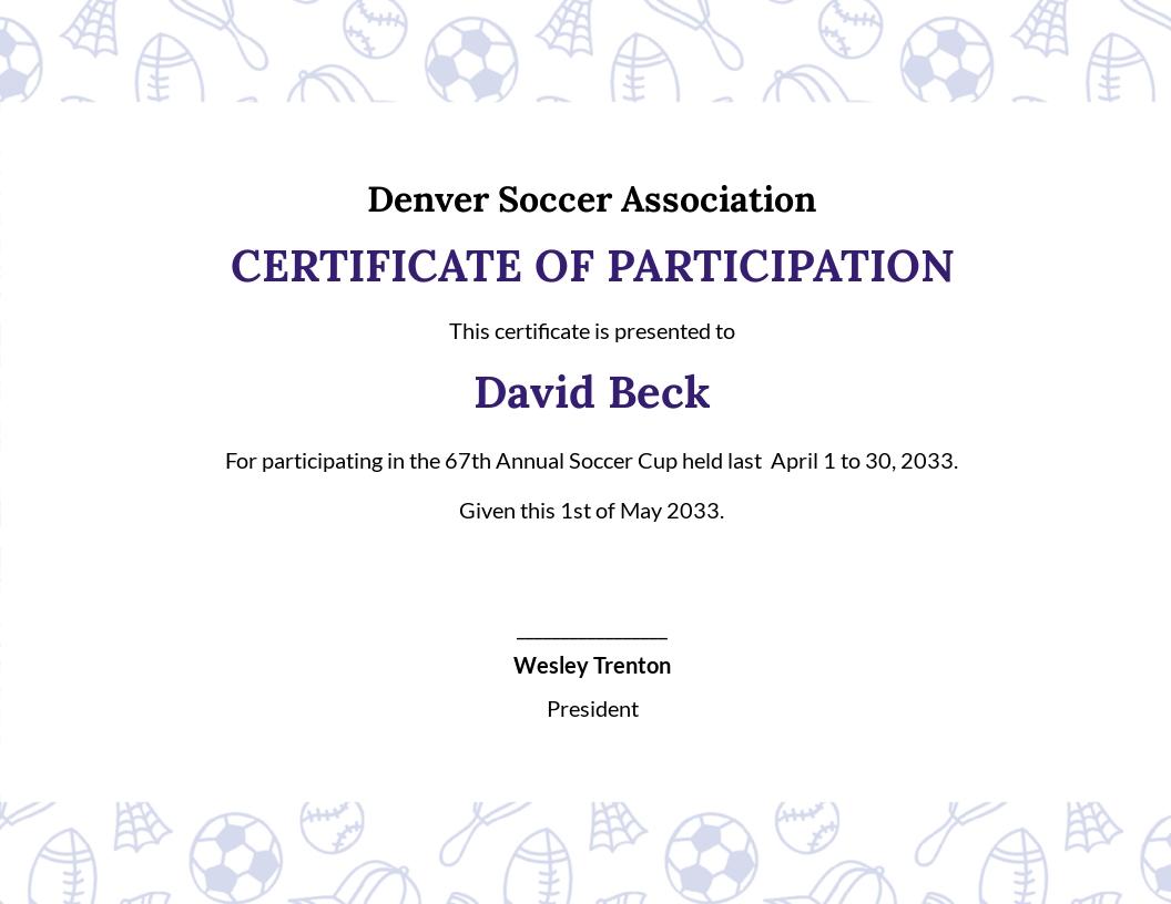 Soccer Participation Certificate Template