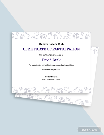 Soccer Participation Certificate Template