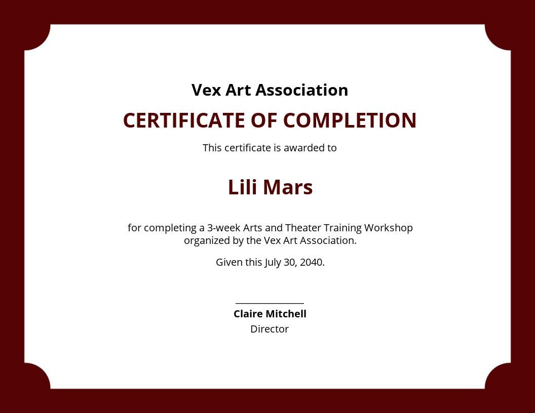 Workshop Completion Certificate Template
