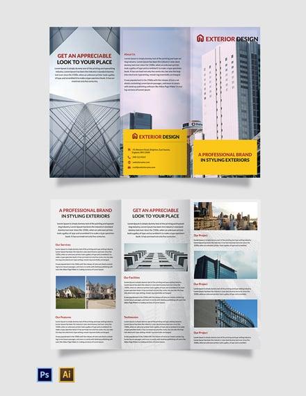 Free Exterior Design Tri-Fold Brochure Template