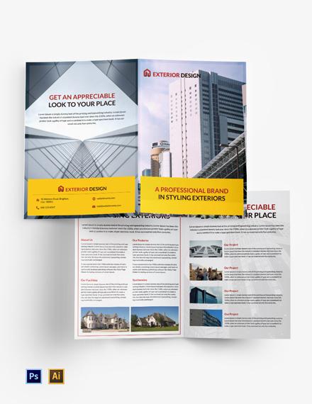 Free Exterior Design Bi-Fold Brochure Template