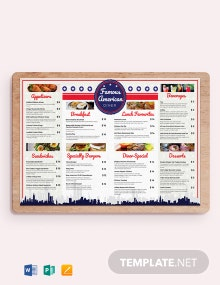 American Dinner Restaurant Menu Template