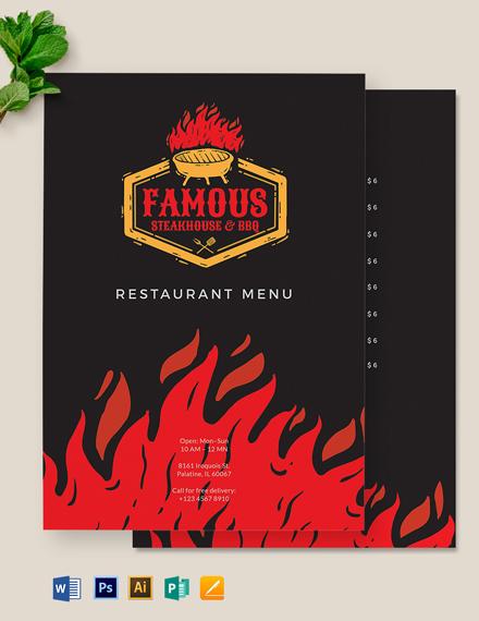Steakhouse BBQ Restaurant Menu Template