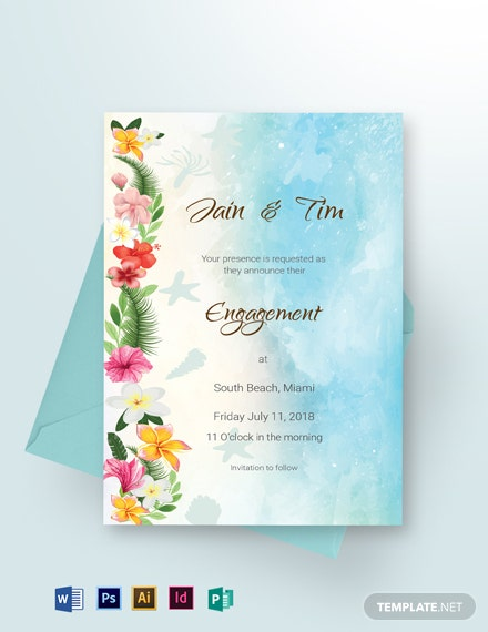 Beach Wedding Engagement Announcement Card Template