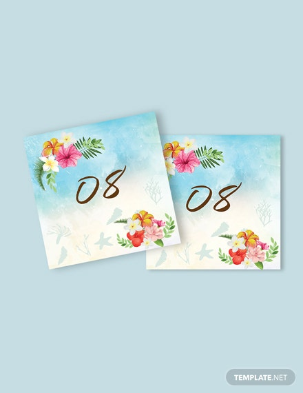 Download Beach  Wedding Table Number Card Template