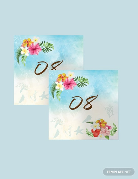 Simple Beach  Wedding Table Number Card Template