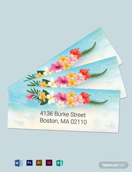 Beach Wedding Address Labels Card Template