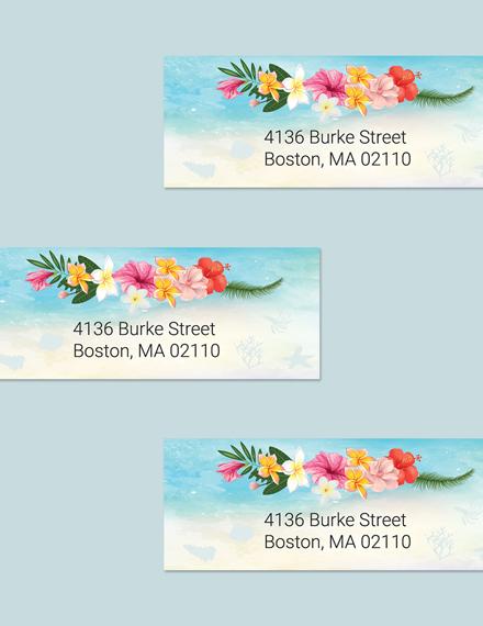 Download Beach Wedding Address Labels Card Template