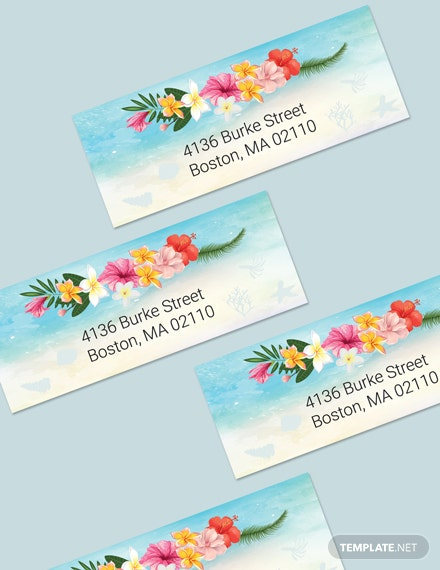 Simple Beach Wedding Address Labels Card Template