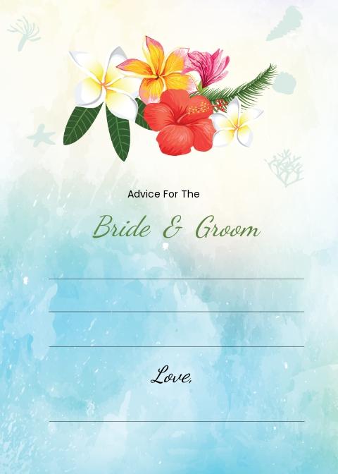 Beach Wedding Advice Card Template.jpe