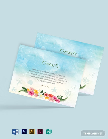 Beach Wedding Details Card Template