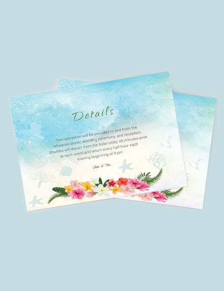 Download Beach Wedding Details Card Template