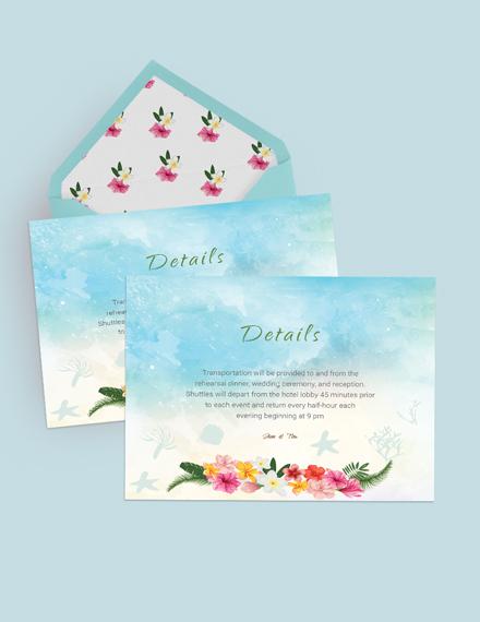 Simple Beach Wedding Details Card Template