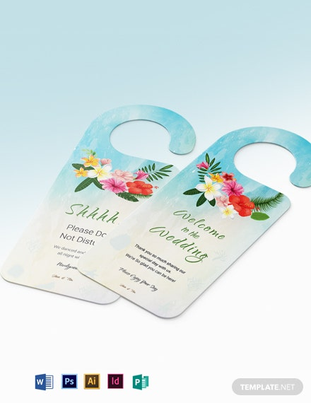 Beach Wedding Door Hanger Template